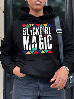 Letter Geometry Print Black Sweatshirt For Women