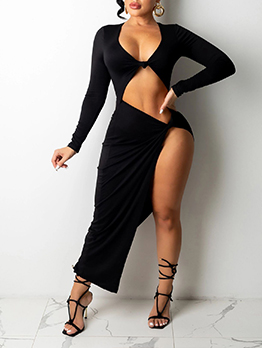 Sexy Solid Hollow Out Long Sleeve Maxi Dress