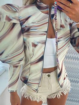 Fashion Printed Puff Sleeve Zipper Up Women Jacket