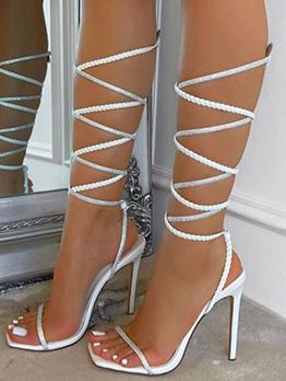 Roman Style Square Toe Rhinestone Ladies Sandal