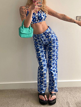 Lovely Flower Print Backless Two Piece Sets Clothing