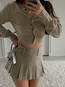 British Style Solid Long Sleeve Cardigan