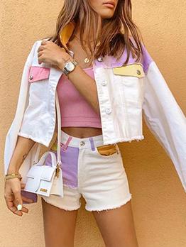 Fresh Contrast Color Short Coat With Pant Set