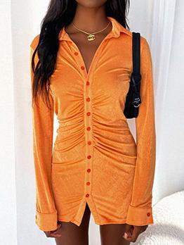 Turndown Collar Solid Casual Long Sleeve Dress