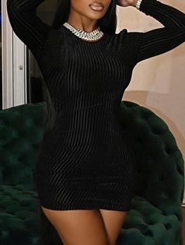Fashion Solid Ribbed Long Sleeve Sheath Dress