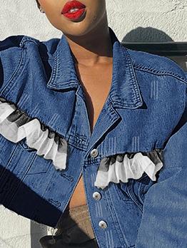 Gauze Patchwork Autumn Versatile Denim Short Coat