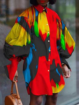 Fashion Contrast Color Design Plus Size Dress