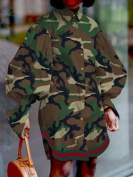 Fashion Camouflage Plus Size Shirt Dress