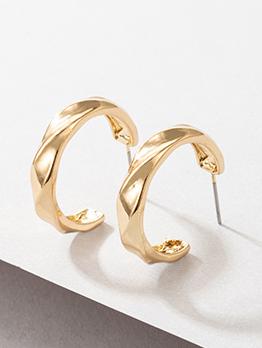 Simple Irregular C Shape Golden Earring