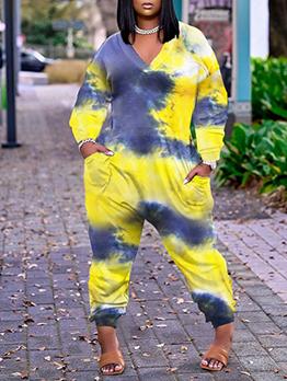 Casual Plus Size Tie Dye Pocket Loose Jumpsuit