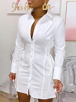Casual White Long Sleeve Shirt Dress