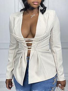 Sexy Tie Wrap Long Sleeve Ladies Blazer