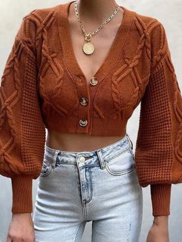 Modern Solid Buttons V Neck Knitting Cardigan