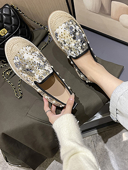 Vintage Faux-Pearl Latest Style Flat Shoes