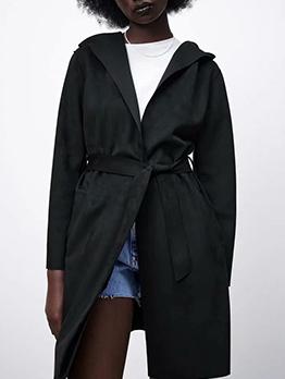 Casual Black Tie Wrap Hoodie Coat Women