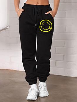 Plus Size Smile Print Black Long Pants