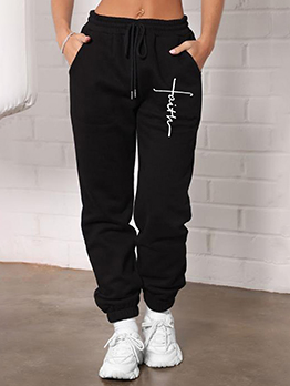 Leisure Printed Pocket Pulling Ropes Long Pants