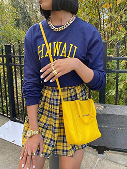 New Arrival Letter Printed Top And Plaid Skirt Set