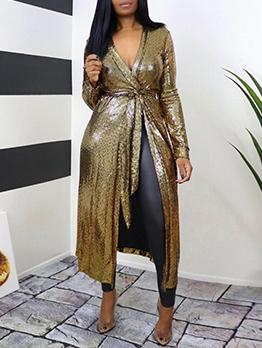 Charming Golden Bronzing Long Sleeve Dress