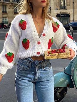 Autumn Strawberry V Neck Knitting Sweater Coat