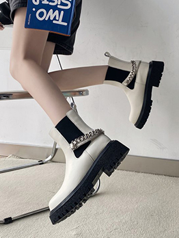 Modern Chain Accessories Chunky Heels Boots