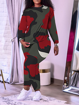 Casual Contrast Color Printed Plus Size Two Pieces Set