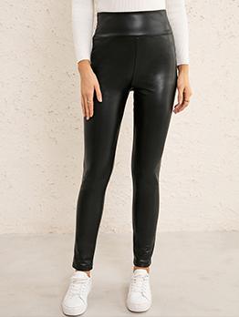 High Waist Stretchable Skinny Pu Long Pants
