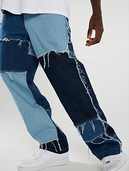 Hip Hop Contrast Color Patch Jeans Men