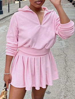Casual Solid Long Sleeve Skirt Sets