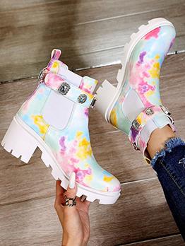 Popular Multicolored Rhinestone Side Zipper Boots