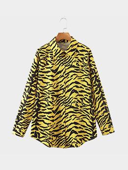 Printed Turndown Collar Fashionable Autumn Blouse