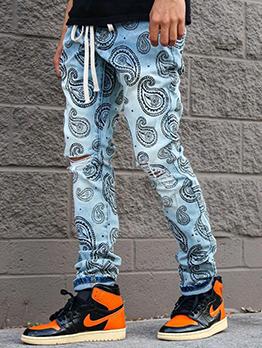 New Print Drawstring Straight Hole Jeans