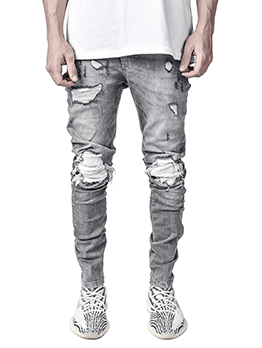 Popular Hole Ruched Skinny Mid Waist Jeans