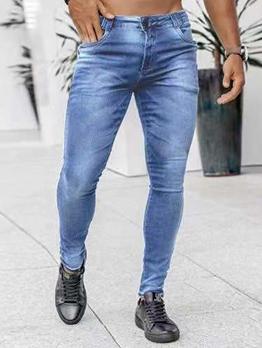 New High Waist Denim Pencil Jeans Men
