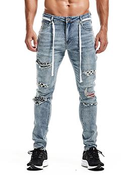 Popular Hip Hop Mid Waist Patch Jeans Men
