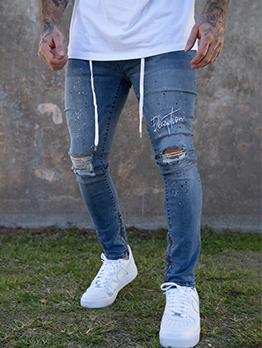 Casual Drawstring Mid Waist Pencil Denim Jeans