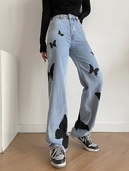 Stylish Butterfly Printed High Waist Straight Jeans