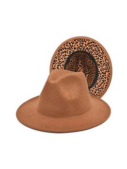 Unisex Fashion Wool Leopard Fedora Hat