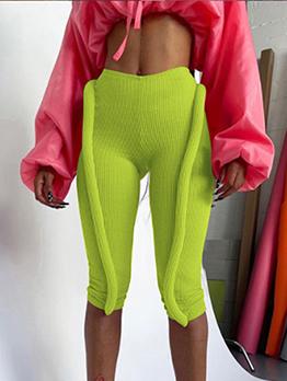 New Solid High Waist Skinny Pants Women