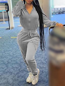 Suede Zipper Long Sleeve Jumpsuit For Women