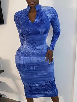 Casual High Neck Long Sleeve Maxi Dress