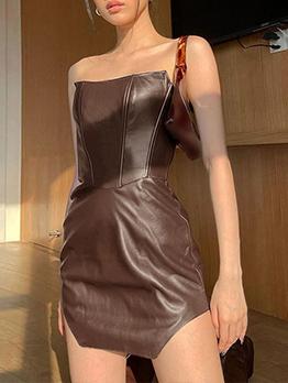 Sexy Leather Solid Nightclub Strapless Short Dress
