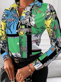 Trendy Bird Flower Printed Long Sleeve Green Blouse