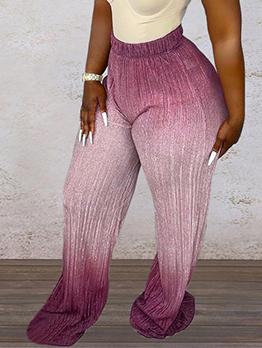 Women Gradient Color Casual Bootcut Flare Long Pant