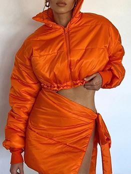 Winter Black Coat 2 Piece Skirt Sets