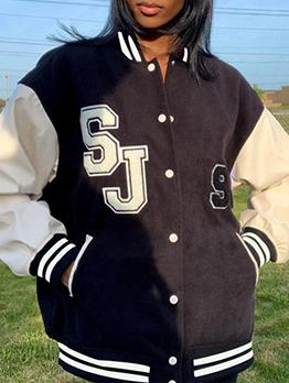 Fashion Stand Collar Baseball Jacket For Women