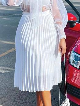 Casual Versatile Solid Chiffon Pleated Skirt