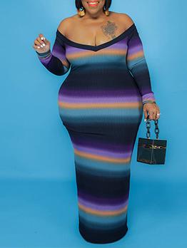Plus Size Contrast Color Off Shoulder Maxi Dress