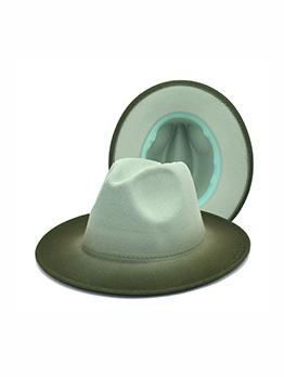Modern Gradient Color Wool Wide Brim Fedora Hat