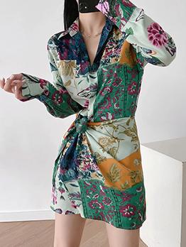 Autumn Printed Vintage Long Sleeve Shirt Dress
